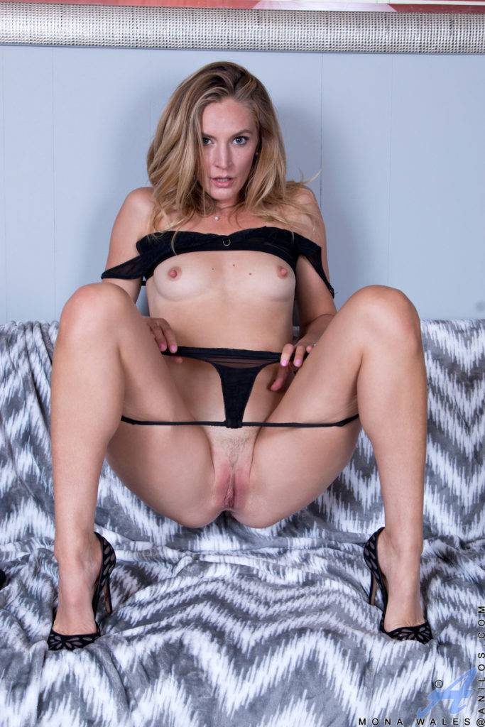 Sexy Blonde Milf Mona Wales Showing Her Pink Pussy At Anilos