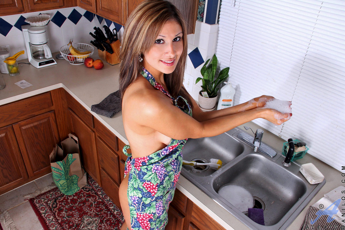 Cute Milf Alexis Playing With Her Shaved Pussy In The Kitchen At Anilos