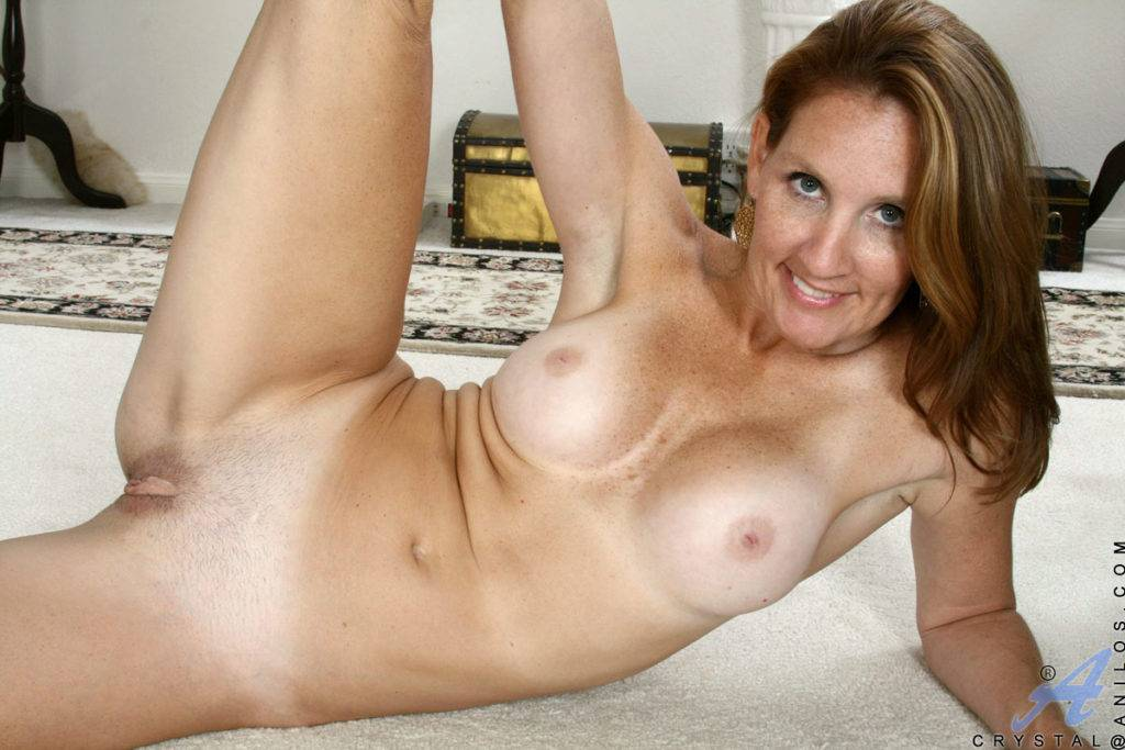 Brunette Mature Crystal Gets Naked For Your Pleasure At Anilos