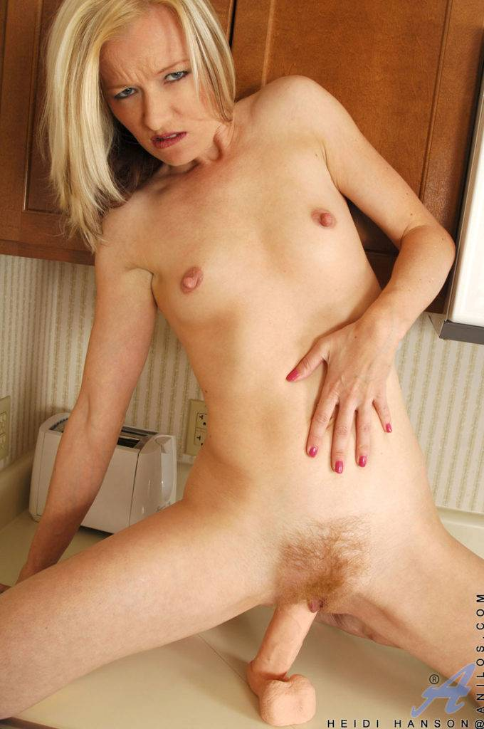 Blonde Mature Cougar Heidi Hanson Playing With Her Pussy In The Kitchen At Anilos
