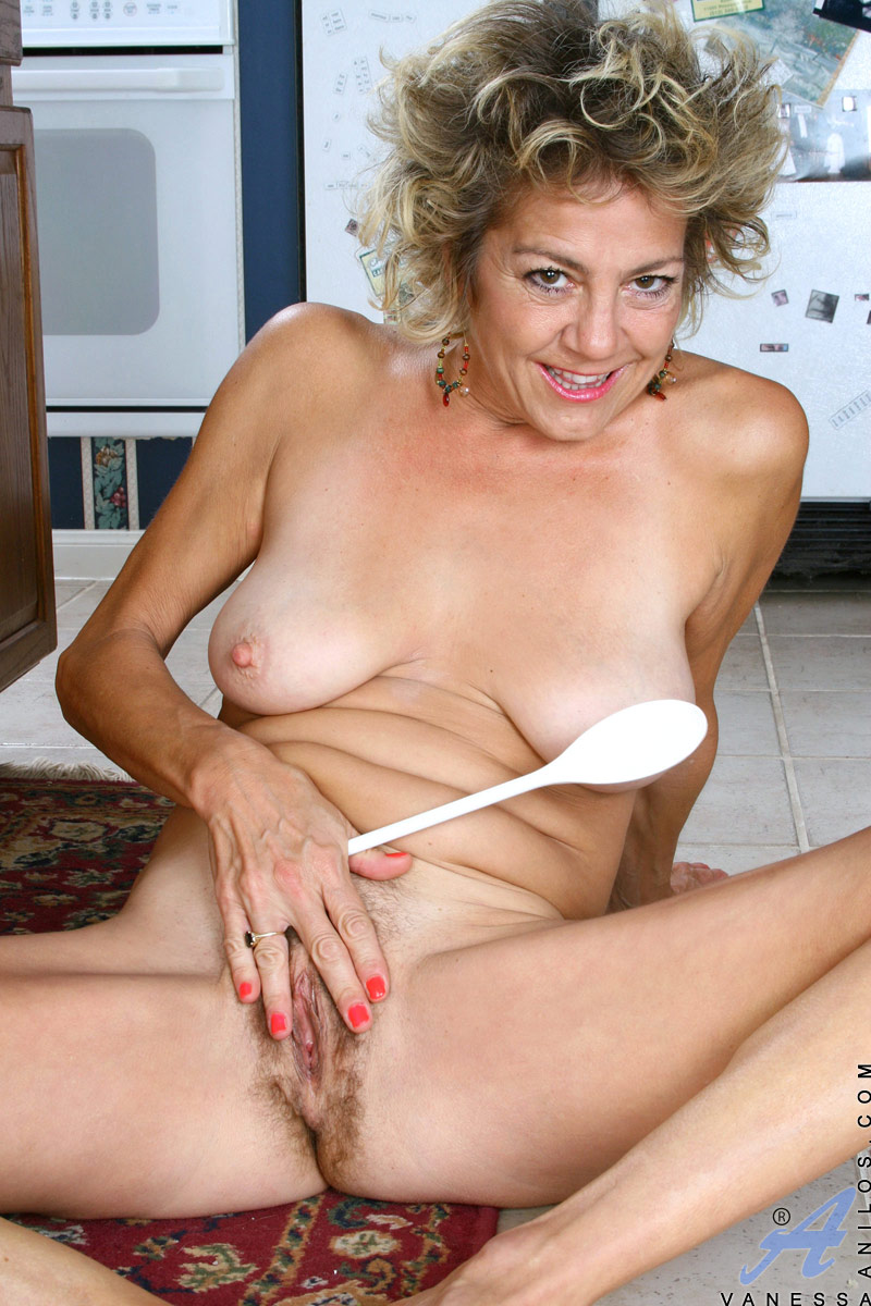 Blonde Mature Housewife Vanessa Playing With Her Hairy Pussy In The Kitchen At Anilos