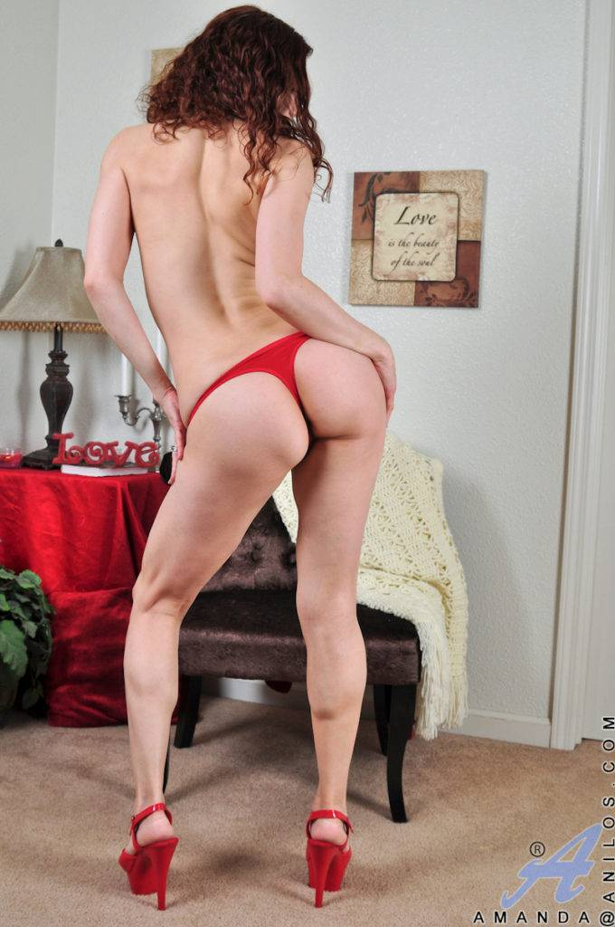 Hairy Amanda Slips Off Her Fishnet And Fingers Her Bushy Pussy At Anilos