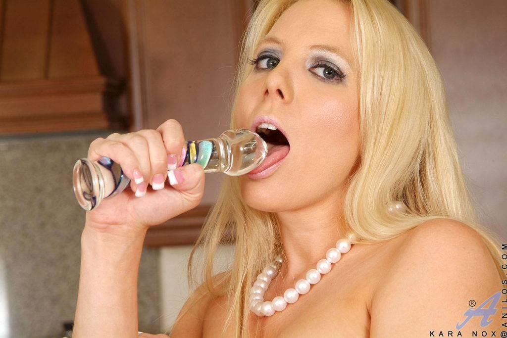Blonde Milf Kara Nox Playing With Her Dildo At Anilos