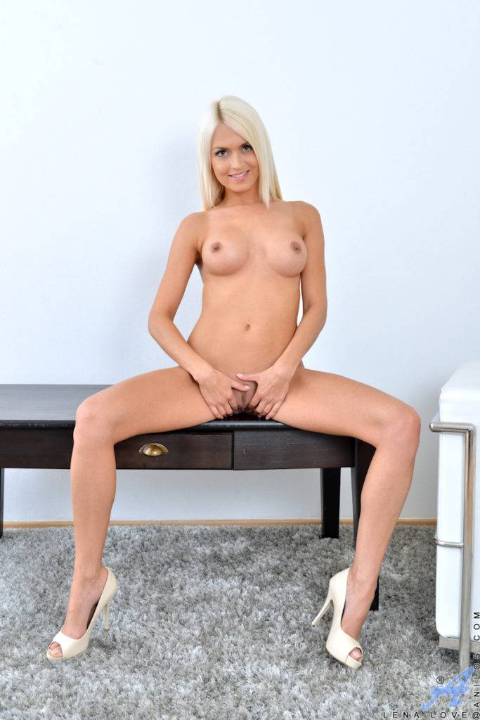 Beautiful Blonde Babe Lena Love Shows Off Her Pink Pussy At Anilos