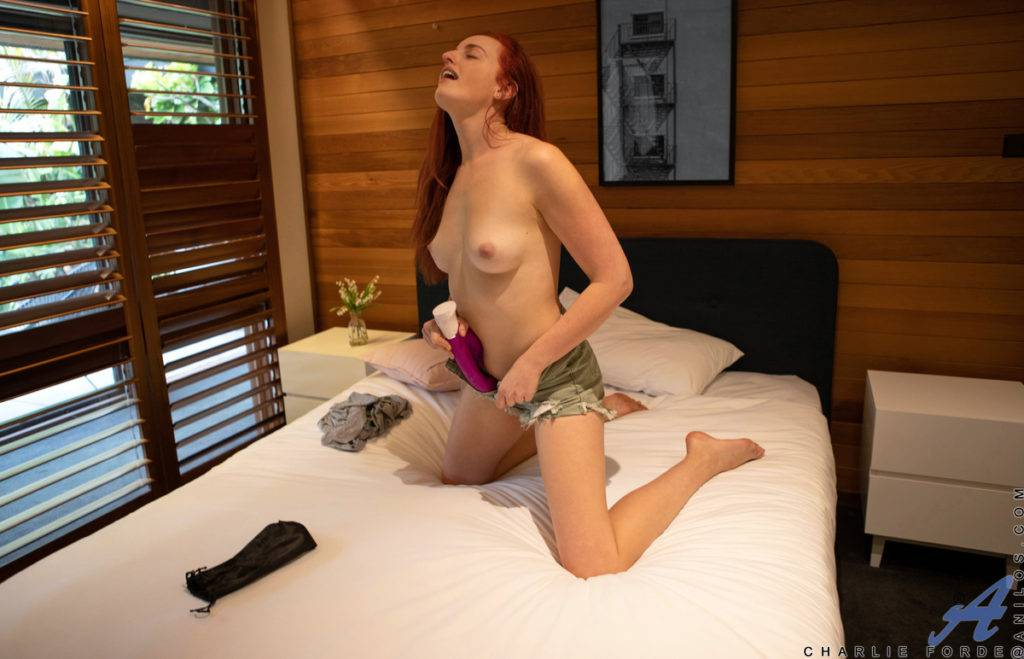 Redhead Charlie Forde Enjoys Her Toys At Anilos