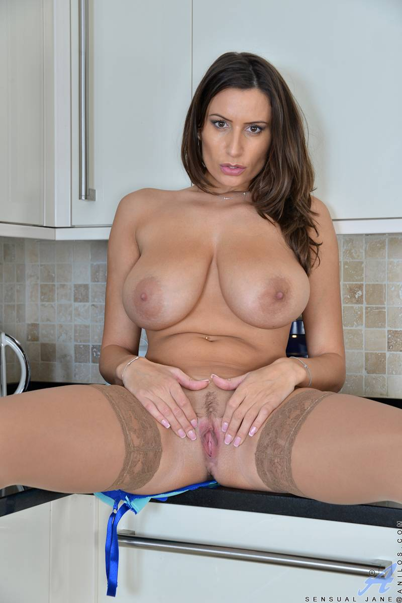 Big tits Sensual Jane masturbate in the kitchen at Anilos